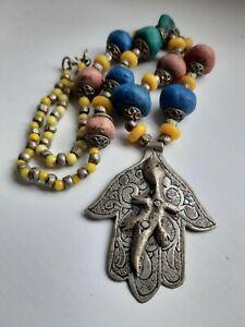 Antique Berber Silver Hamsa Khamsa With Tribal Beads African Moroccan Jewellery