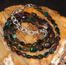 100% Natural Ethiopian welo Fire Opal Black Tumble Beads Necklace chain strand