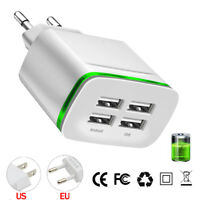 2/4 Port Quick Fast Charger USB Hub Wall Charger LED Power Adapter US EU Plug