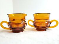Vtg Indiana Glass Kings Crown Amber Open Sugar Bowl & Creamer Thumbprint