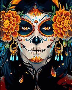 Queen Sugar Skull Colorful Painting Artwork Paint By Numbers Kit DIY Beginners