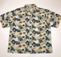 Disney Cruise Line Mens Mickey Hawaiian Shirt Size XL Surfer Van Skull Floral