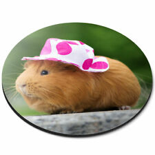 Round Mouse Mat - Sweet Guinea Pig Lady Female Office Gift #24494