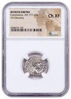 Roman Empire, Silver Denarius of Commodus (AD 177-192) NGC Ch. XF SKU52260