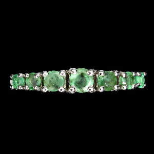 Unheated Round Emerald 3mm 14K White Gold Plate 925 Sterling Silver Ring 6
