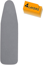 happhom Ironing Board Cover and Pad Extra Thick Heavy Duty Padded 4 Layers, Silv