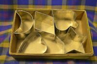 Lot of 5 Vintage TIN Thick Biscuit/Cookie Cutters-Star, Crescent,Diamond,Spade,H