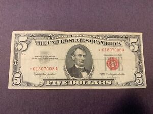 1963 $5.00 Star Note Red Seal