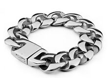 Steel 23mm Bracelet Link 8.5 inch Rocker Biker Punk Cuban Curb Stainless