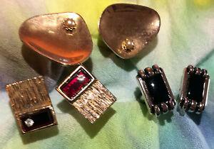 3 pairs Lot Vintage Cufflinks red gem, black gem & paint palet with faux pearl