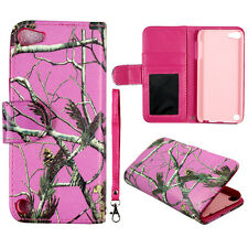 Pink Camo Conifer Apple iPod Touch 5 5th PU Leather case cover