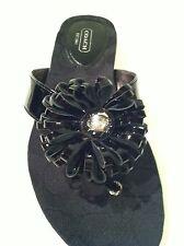 COACH Signature Flip Flops Black patent leather sandals Thongs Shoes Size 5 $118
