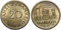 SAARLAND 20 FRANKEN 1954 KM#2