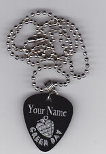GREEN DAY GRENADE GUITAR PICK  PENDANT NECKLACE CUSTOM ENGRAVED