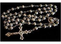 Tibet Silver Rose Flower beads Necklace Rosary & Cross Catholic crucifix