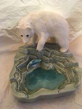 Polar Bear Catching Fish in Pool Ashtray Dish Pottery Marked Dent