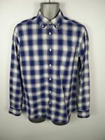 MENS T.M.LEWIN BLUE/WHITE CHECKED BUTTON UP LONG SLEEVED CASUAL SHIRT M MEDIUM