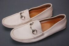 GUCCI men's cream Ivory driving loafers bit shoes Gucci 8 1/2 G / US 9 1/2 9.5 D
