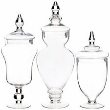 Palais Glassware Clear Glass Apothecary Jars, Wedding, Large, Clear, Set of 3