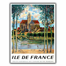 ILE DE FRANCE METAL SIGN WALL PLAQUE Vintage Retro Travel Holiday Advert poster