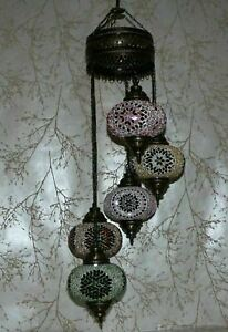 5 Large Globes - Turkish Moroccan Glass Mosaic Hanging Ceiling Chandelier Lamp