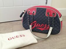 Brand New GUESS Grey & Pink Quilted Leather Signature Logo Hand Bag & Dust Bag