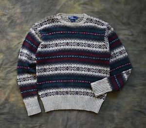 Beautiful Vintage Polo Ralph Lauren Wool Nordic Fairisle Style Jumper Sz M RRL