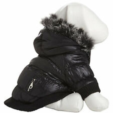 Pet Life Metallic Black Parka Dog Coat