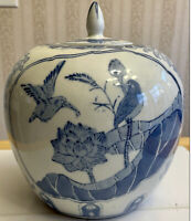 "VINTAGE CHINESE PAINTED PORCELAIN 9.75""X8.5"" GINGER JAR LOTUS FLOWER BLUE WHITE"
