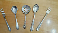 Asst Lot of 6 Misc 3 Sterling & 2 Silver Plate Serving Pieces Spoons Forks