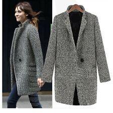 Winter Trench coat Womens Tweed Ladies Vintage Peacoat Warm jacket Size 6 8 10