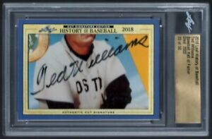 TED WILLIAMS 23/50 RED SOX HOF CUT SIGNATURE AUTO SP 2018 LEAF HISTORY AUTOGRAPH
