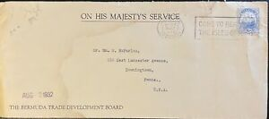 1932 Bermuda #44 or #87 or #87a w slogan cncl on OHMS Cover to US; ship topic *d