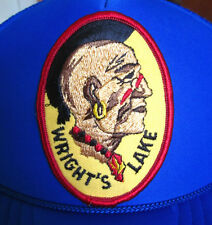 WRIGHT'S LAKE vtg trucker cap Native American patch Mohawk snapback hat BSA