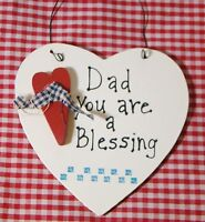 "Cute Country Heart wood sign DAD YOU ARE A BLESSING"" Great Gift Great Message"