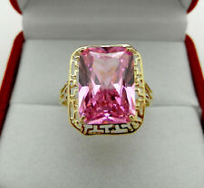 Cocktail  Solid 14k Yellow Gold Pink Rose CZ Stone Ring size 9