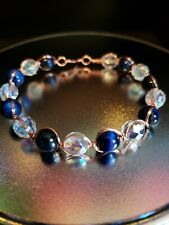 Blue Tiger's Eye, Glass Beads and Copper Bracelet EMFs Protection