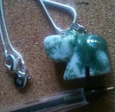 Green & White Onyx elephant pendant.Sterling silver chain.Spirit Guide.UK SELLER