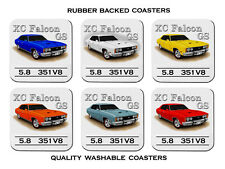 FORD  XC  GS  FALCON SEDAN  5.8  V8     SET OF  6 QUALITY RUBBER DRINK  COASTERS
