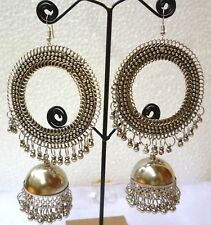 Antique Silver Plated 5'' Long Big Round Indian Wedding Drop Earrings Set 1