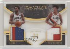2019 Immaculate Jersey Number Relics /21 Hassan Whiteside Joel Embiid Dual Patch