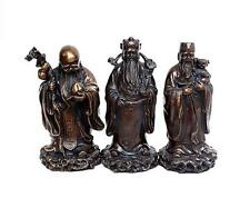 Folk Chinese Bronze Fengshui 3 Longevity God Fu Lu Shou Life Immortal Statue Set
