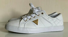 NEW! GUESS COMLY WOMEN'S GOLD LOGO WHITE LEATHER SNEAKERS SHOES 7 37 SALE