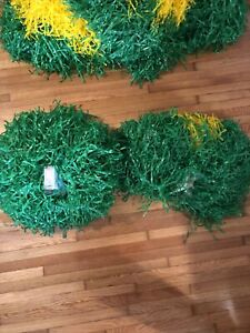 Vintage Rare Dehen Large Cheer Pom Poms Green/gold Lot Of 2 Usa Made cheer