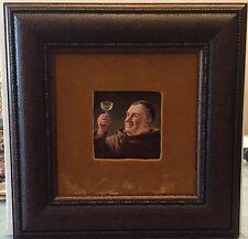 German Porcelain Plaque (framed) - Wine Tasting Monk