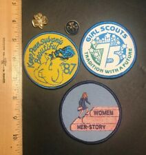 Vintage Girl Scout Pin & Patch Lot - 2 Pins & 3 Patches