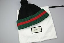Gucci GG Cashmere Red & Green Striped  Beanie Black made In Italy ADULT Size S