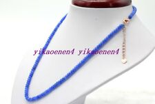 """New 2x4mm Blue Sapphire Faceted Rondelle Gemstone Beads Necklace 18""""AA"""
