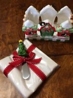 Handcrafted Lady Jayne Christmas Ceramic Napkin holderw/ Tree Knife Spreader