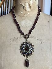 HEIDI DAUS Burgundy Bead and Crystal Drop Necklace